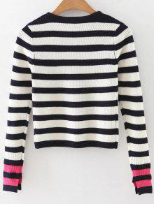 ae6f5df826 34% OFF  2019 Long Sleeves Striped Sweater In BLACK AND WHITE AND ...