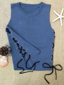 Side Lace-Up Knit Tank Top - Blue