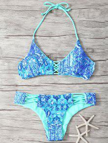 Halter Lateral Doble De Tiras Imprimió El Sistema Del Bikini - Azul L