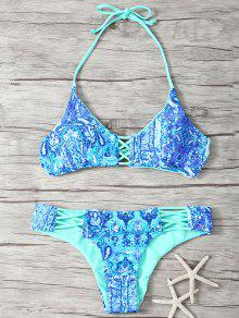 Halter Double Side Strappy Printed Bikini Set - Blue S