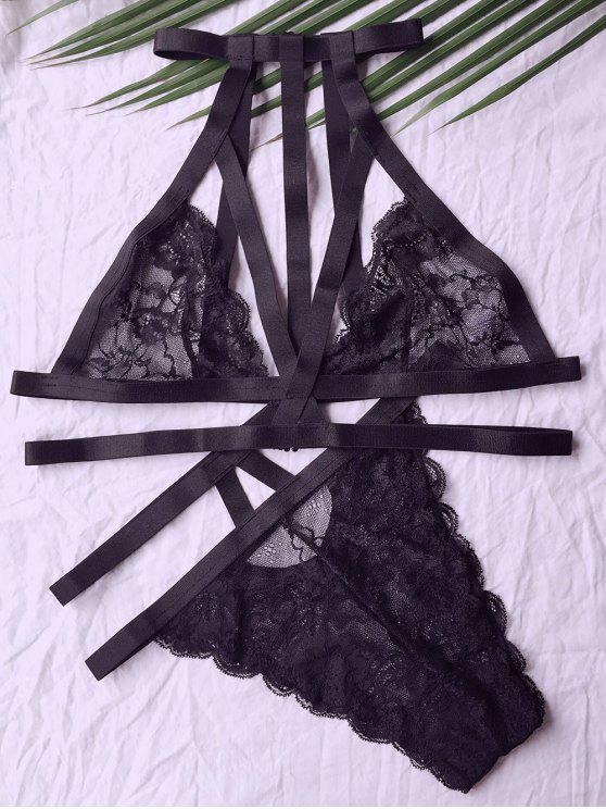 جلد الرقبة العالية الأسود تعيين البرازيلي - أسود 2XL
