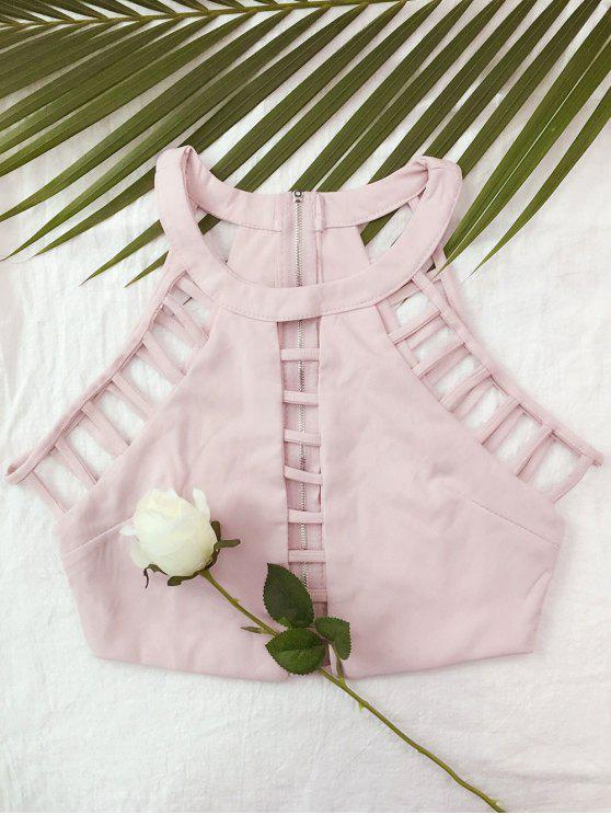 outfit Ladder Cutout Crop Top - PINK L