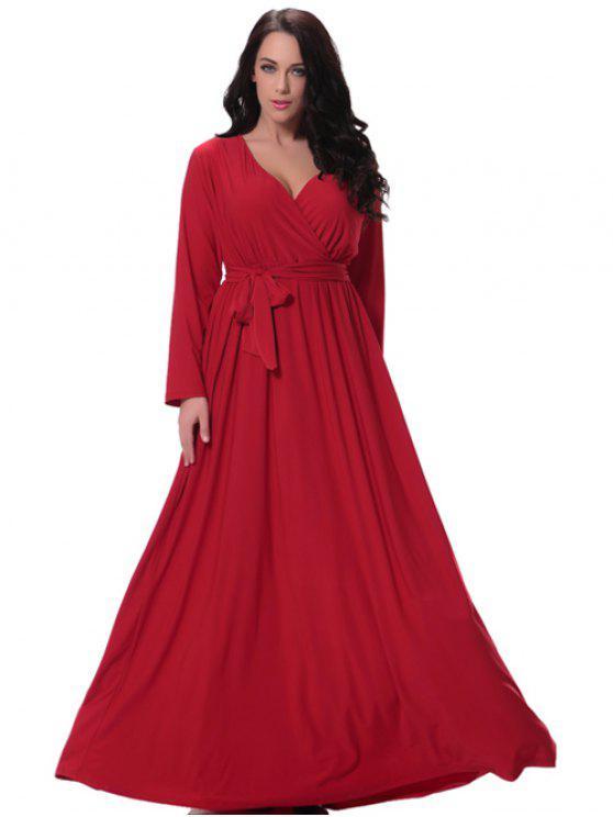 فستان ماكسي بلون الصلبة غارق الرقبة - أحمر XL