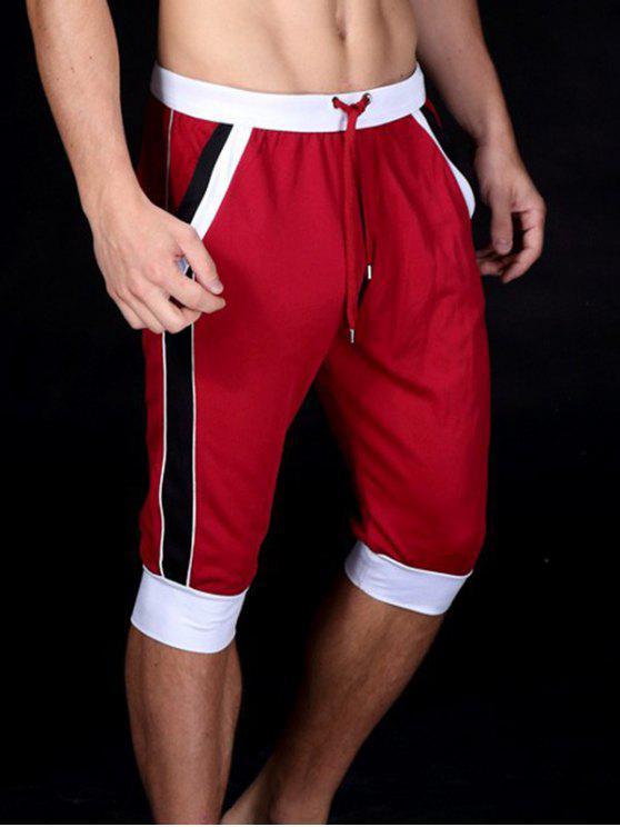 الدانتيل متابعة كتلة اللون الرياضة جوجر اقتصاص السراويل - أحمر XL
