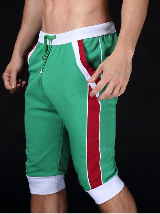 الدانتيل متابعة كتلة اللون الرياضة جوجر اقتصاص السراويل - أخضر S