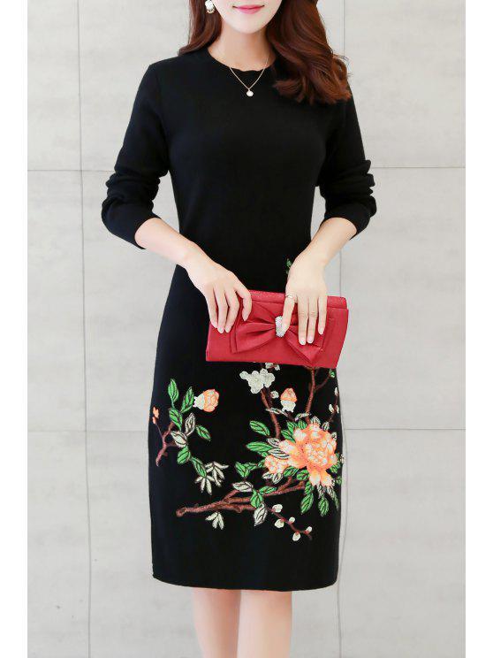 خمر الزهور مطرز طول الركبة اللباس - أسود M