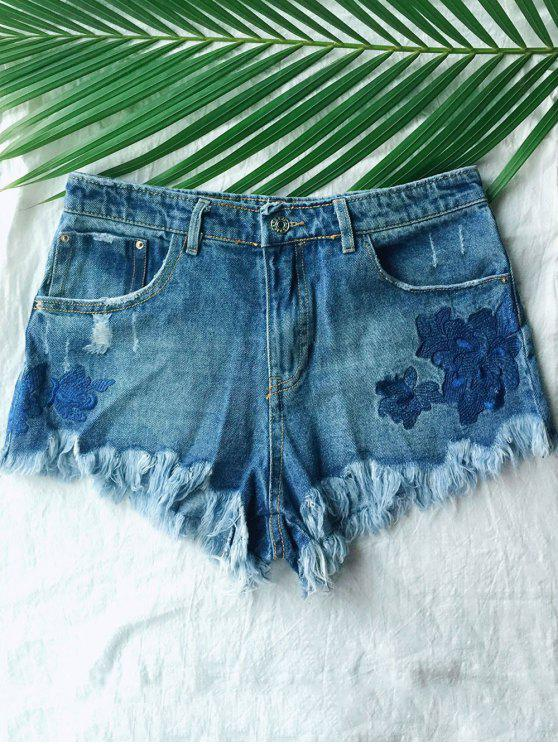 hot Frayed Embroidered Denim Shorts - BLUE S