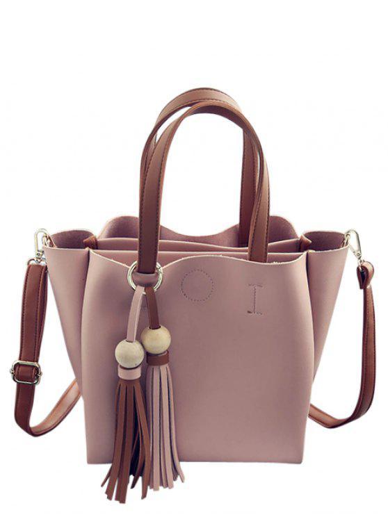 new Metal Ring Colour Block Tassels Tote Bag - PINK