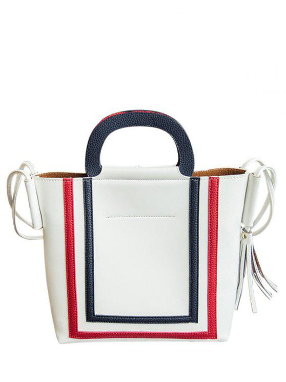 online Color Splicing PU Leather Tassels Shoulder Bag - WHITE