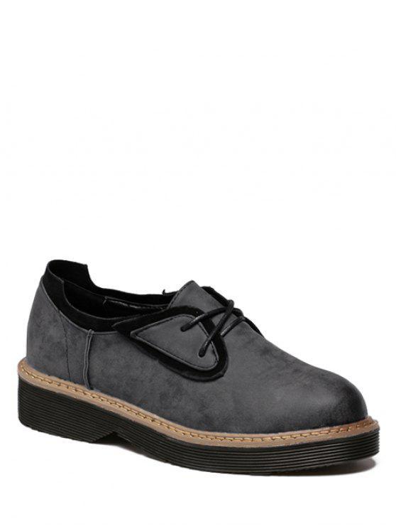 new Round Toe Tie Up Splicing Platform Shoes - BLACK GREY 37