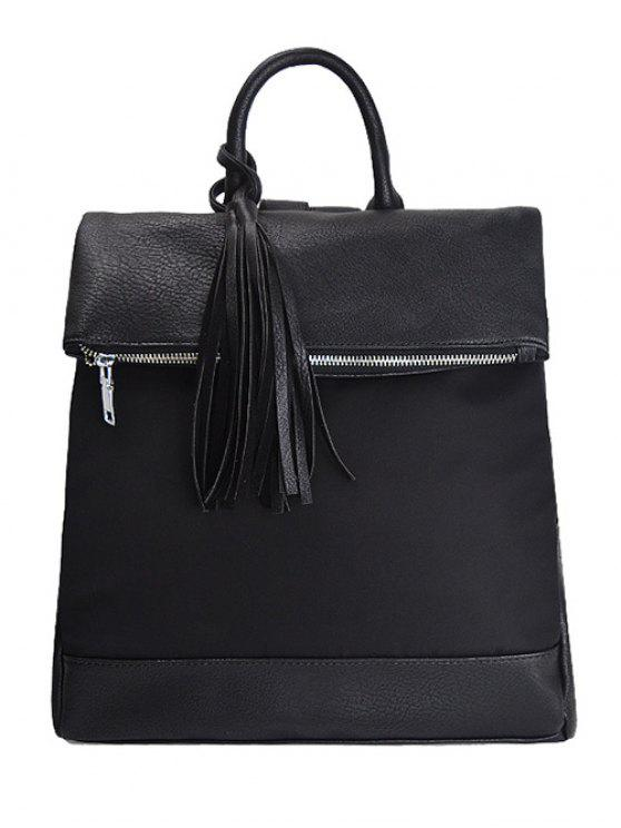 online Tassel Nylon PU Leather Backpack - BLACK