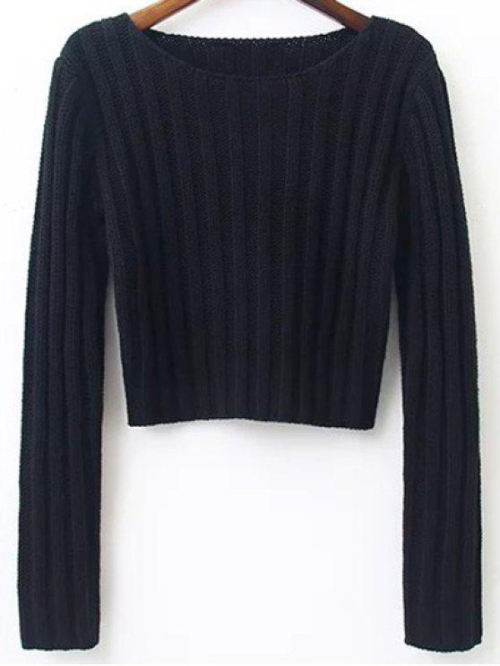 womens Long Sleeve Round Neck Cropped Sweater - BLACK S