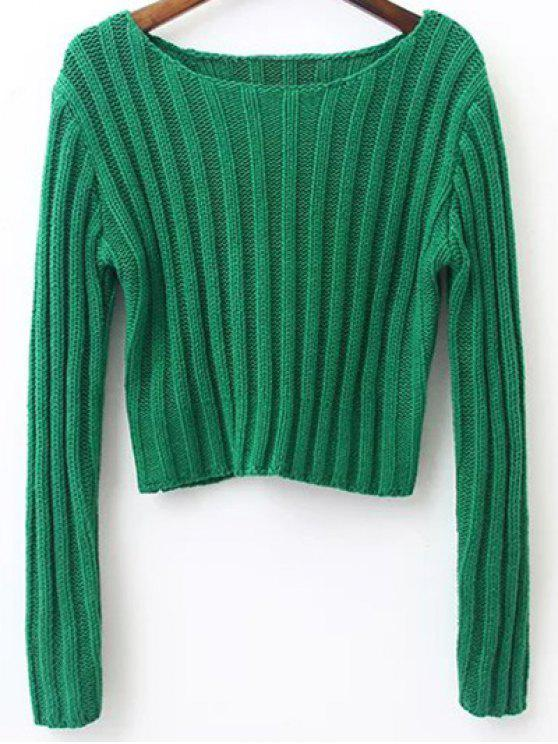 best Long Sleeve Round Neck Cropped Sweater - GRASS GREEN M