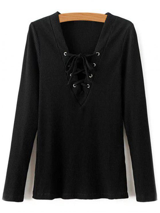 Col en V à manches longues en dentelle Up T-Shirt - Noir L