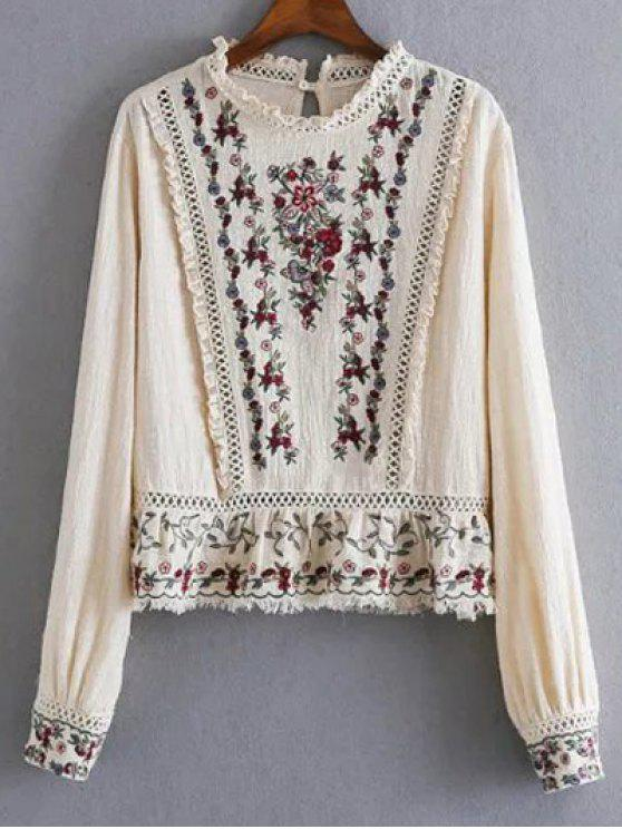 lady Tiny Floral Embroidered Round Neck Blouse - APRICOT L