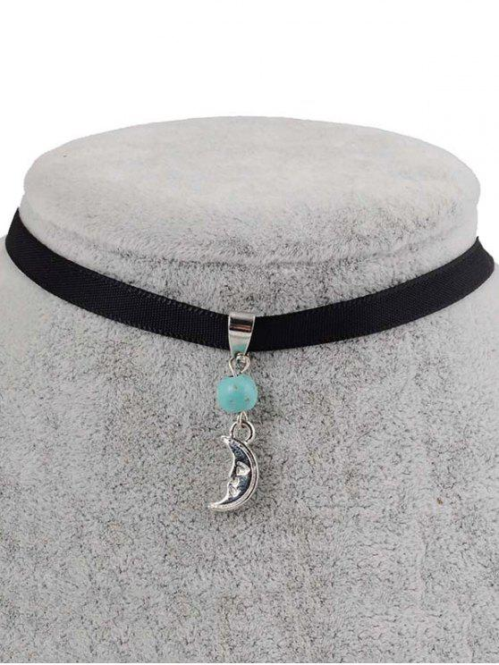 lady Faux Turquoise Moon Choker - BLACK