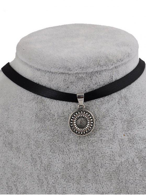 hot Faux Leather Sunflower Choker - BLACK