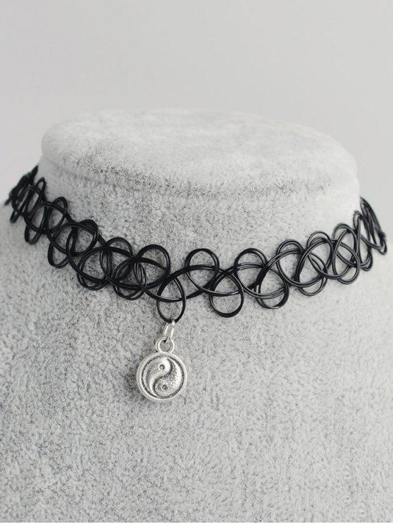 chic Tai Ji Circle Hollow Out Tattoo Choker - BLACK
