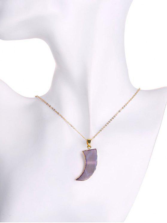 buy Natural Shape Agate Horn Necklace - LIGHT PURPLE