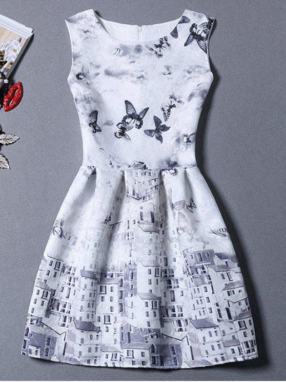 shops Castle Butterfly Sundress - GREY AND WHITE M