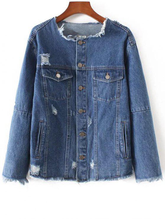 lady Frayed Denim Jacket - DENIM BLUE XS