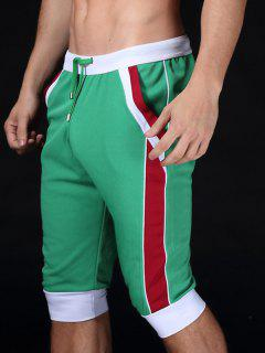 Lace-Up Color Block Sport Jogger Cropped Pants - Green S