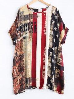 Flag Pattern Dolman Sleeves Chiffon Patriotic Dress