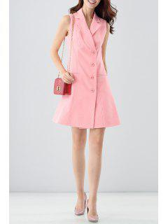Lapel Button Front Sleeveless Blazer Dress - Pink M