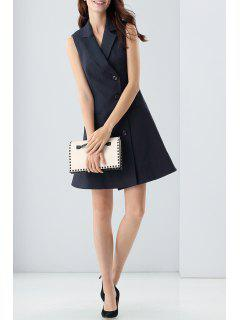Lapel Button Front Sleeveless Blazer Dress - Black S