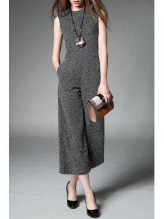 Crew Neck Wide Leg Jumpsuit - Gray M