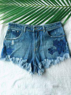 Frayed Embroidered Denim Shorts - Blue S