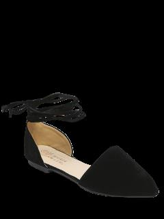 Tie Up Pointed Toe Flock Flat Shoes - Black 39
