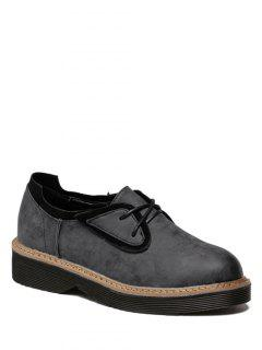 Round Toe Tie Up Splicing Platform Shoes - Black Grey 37