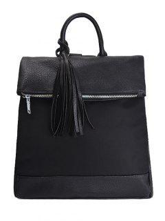 Tassel Nylon PU Leather Backpack - Black