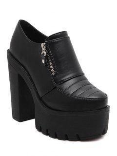 Zipper Chunky Heel Platform Pumps - Black 38