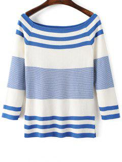 Striped Boat Neck Side Slit Knitwear - Blue And White