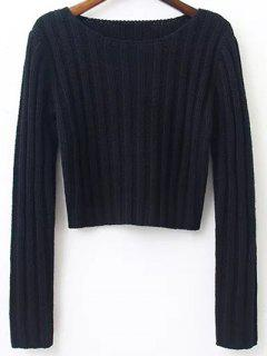 Long Sleeve Round Neck Cropped Sweater - Black S