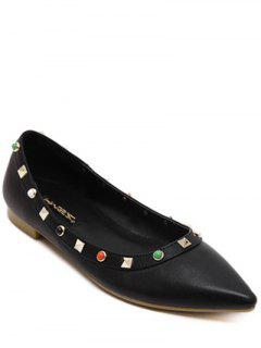 Pointed Toe Rivet Bead Flat Shoes - Black 38