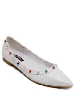 Pointu Chaussures Rivet Bead Plates - Blanc 38