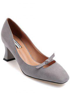Chunky Heel Bowknot Square Toe Pumps - Gray 38