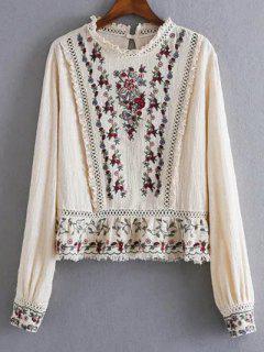 Bordado Floral Pequeña Blusa De Cuello Redondo - Albaricoque S