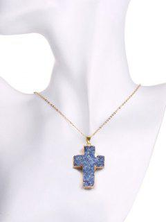 Collar Cruzado Cristalino Forma Natural - Azul