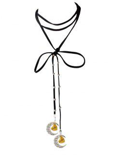 Faux Leather Bowknot Moon Brother Choker - Black