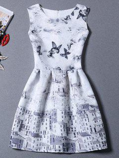 Castle Butterfly Sundress - Grey And White M