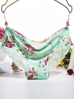 Scalloped Floral Print Lace Spliced Briefs - Mint Green M