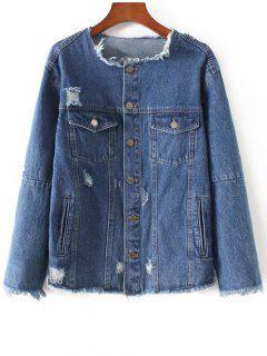 Frayed Denim Jacket - Denim Blue Xs