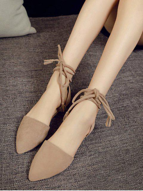 buy Tie Up Pointed Toe Flock Flat Shoes -   Mobile