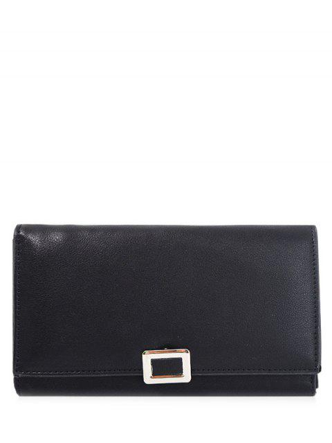 chic Metal Covered Closure PU Leather Wallet - BLACK  Mobile
