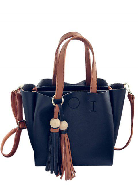 online Metal Ring Colour Block Tassels Tote Bag - BLACK  Mobile