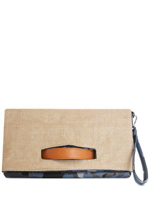Bloque de color yute empalmado bolso de embrague - Azul  Mobile